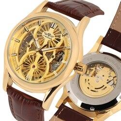 Zwycięzca złoty szkielet zegarek męski zegarek mechaniczny nakręcanie automatyczne skórzane zegarki dla mężczyzn najlepsze prezenty reloj masculino
