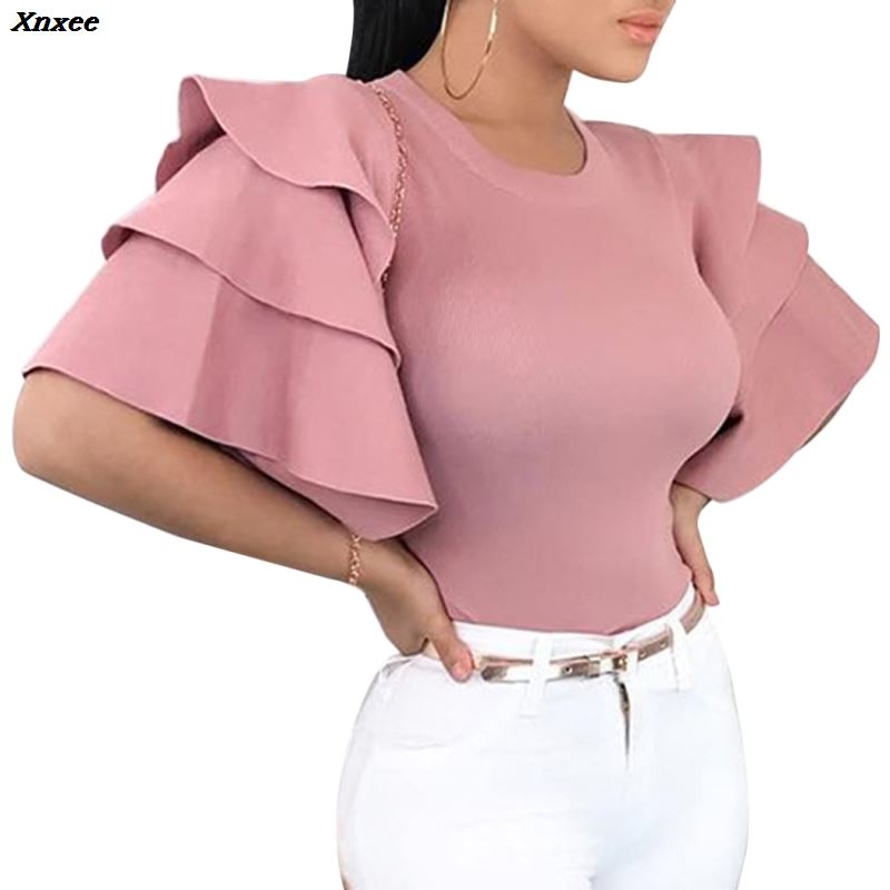 2020 Women Ruffle Sleeve Blouse Tops Elegant Round Neck Slim Office Shirt Ladies Korean Fashion Red Blouses Summer Blusas