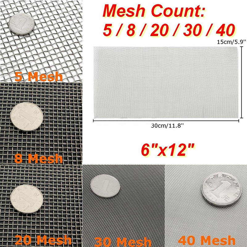 DWZ 5/8/20/30/40 Mesh Stainless Steel Woven Cloth Screen Wire Filter Sheet 6x12''