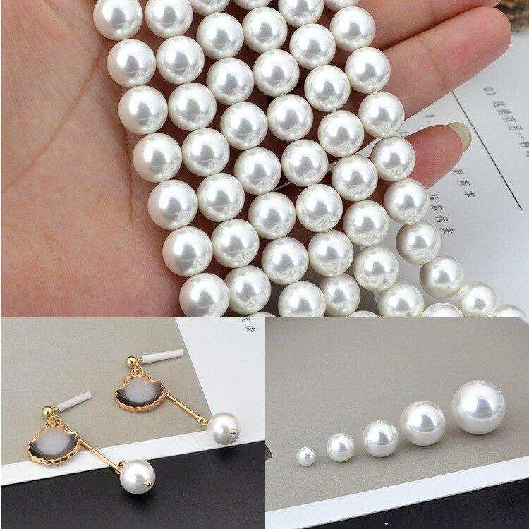 Новые круглые жемчужные бусины 6/8/10/12 мм с прямой вставкой из АБС пластика для самостоятельного изготовления ожерелий, сережек, браслетов, ювелирных изделий|Бусины|   | АлиЭкспресс