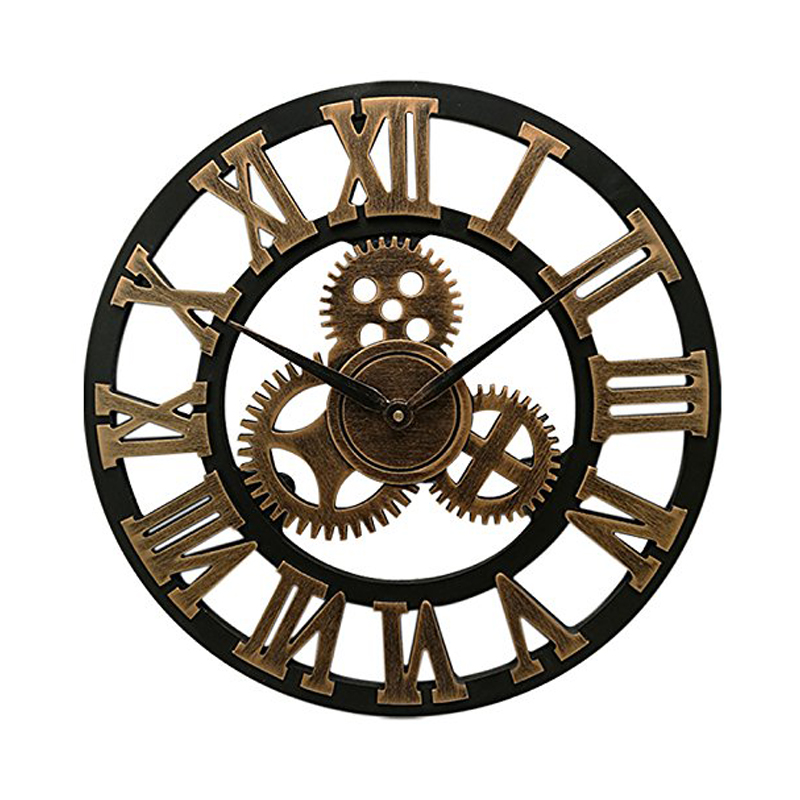 16 Inch Big Size Rustic Wall Clock With Gear Decorative Vintage Clock With Roman Numerals