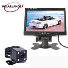 HD 7 Polegada Display LCD Monitor Do Carro Tela Colorida de Backup Radar Reverso Camera DVD VCR Com Luzes LED de Visão Noturna sistema de estacionamento