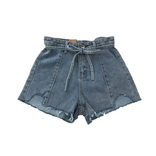 Summer High Waist Jean Womens Denim Shorts Fashion Pocket Bow Cowboy Femme Short Mujer Pantalones
