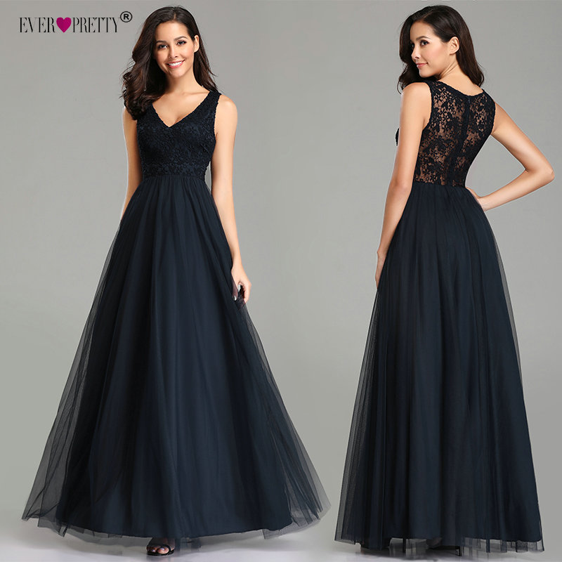 Elegant Navy Blue   Evening     Dresses   Long Ever Pretty EZ07644NB Sexy Cheap A-line Sleeveless V-neck Tulle Lace Back Robe De Soiree