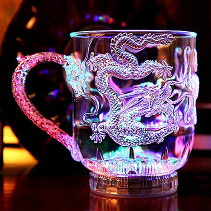 LED Flash Color Changing Dragon Cup Water Activated Light Up Beer Glass Tea Mug Milk Coffee Lemon Juice Whisky Mug Drinkware