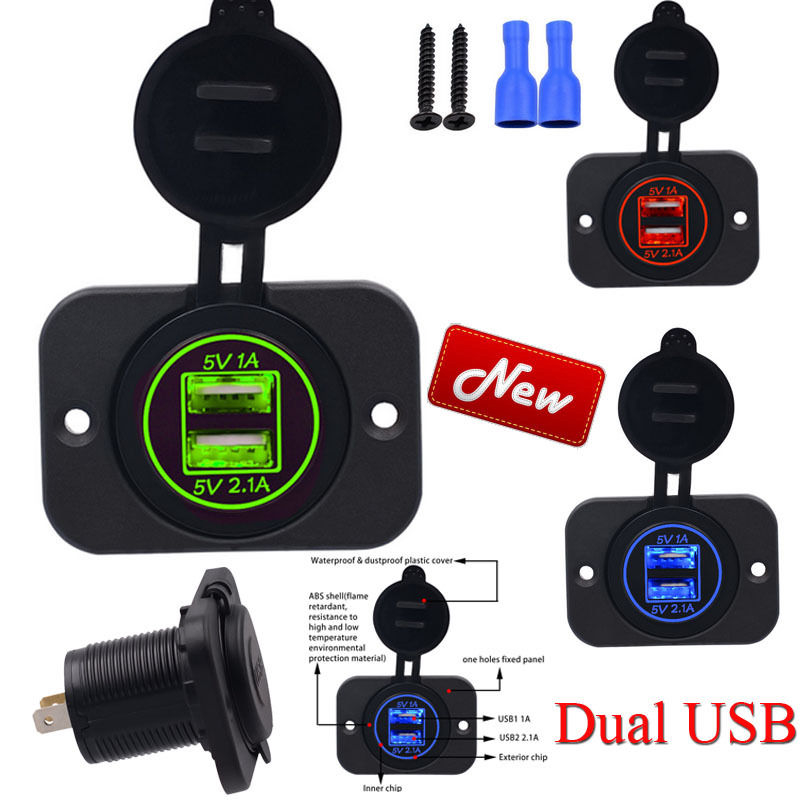 Universal 5V 3.1A Dual 2 USB High Quality Auto Power Charger Socket Adapter 12V 24V for Motorcycle Car Waterproof Power Socket