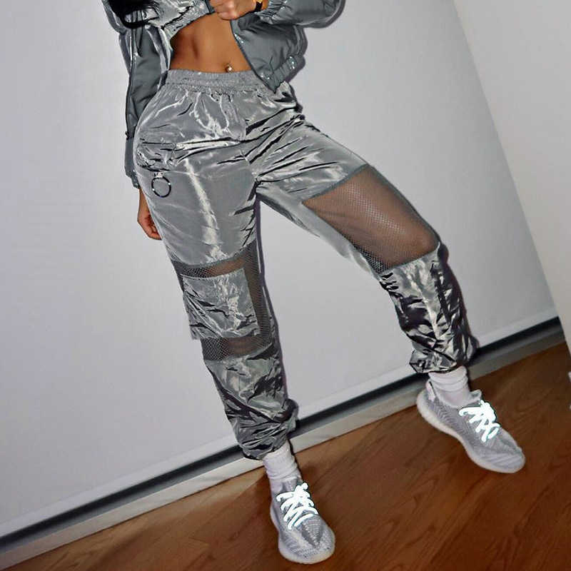 Pantalones Cargo De Malla Transparente Para Mujer Pantalon De Chandal De Saten Harajuku De Cintura Alta Tendencia De Verano Pantalones Y Pantalones Capri Aliexpress