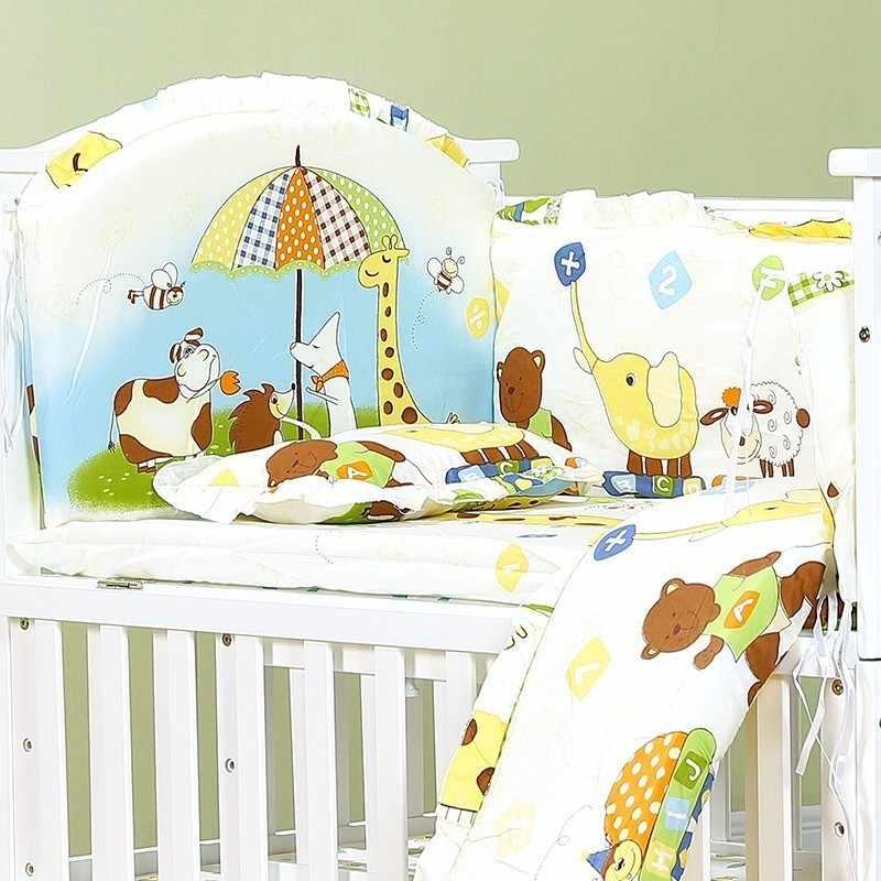 5pcs ผ้าฝ้ายเด็กชุดกันชนนุ่มถอดซักได้ทารกแรกเกิดเครื่องนอน Crib Cot Bumper Baby Room Decor น่ารักหนา