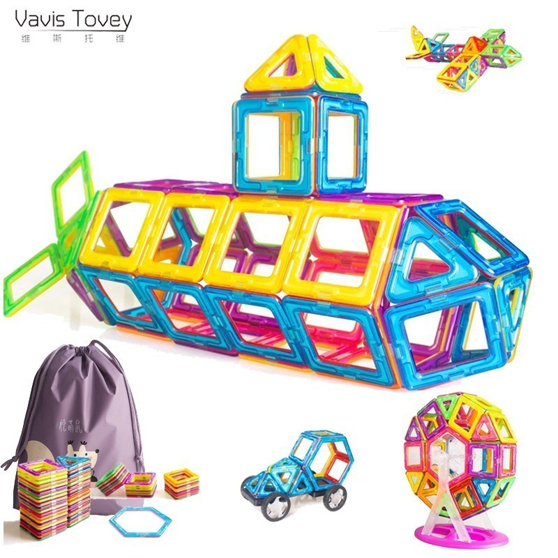 Vavis Tovey 56pcs Big Designer Blocks Building & Construction Toy Magnetic Tiles Game Educational Toys Children Gifts