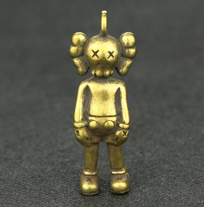 Collection Chinese Brass Carved Solid Doll Exquisite Small Pendant Statue Gift