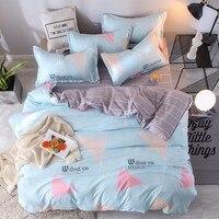 Home Adult Bedding Set 3/4pcs Blue Gray Stripes Cross Pattern Child Cot Set Including Duvet Cover Pillowcase Flat Bed Sheet