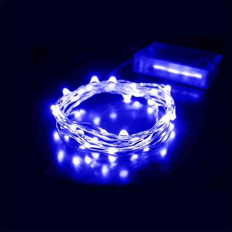 2M 20 LED Battery Box Silver Copper Wire String Holiday Outdoor Fairy Lights For Christmas Party Wedding Decoration