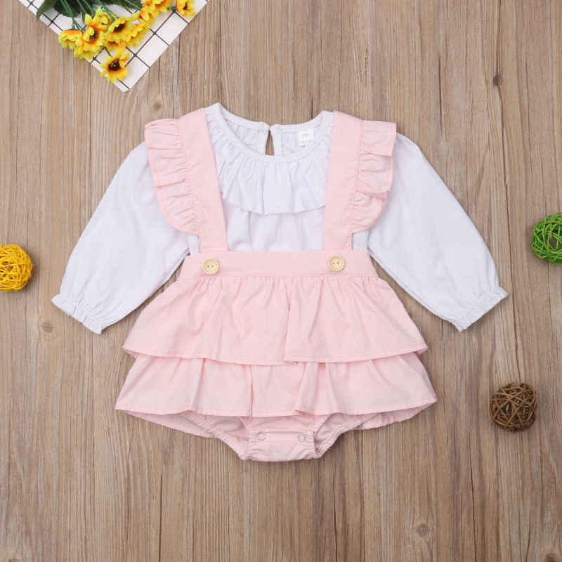 4f25f417b3a ... 2Pcs Baby Girl Clothes Cute Long Sleeve Ruffle Tops Suspender Tutu Dress  Pants Newborn Clothes Outfit