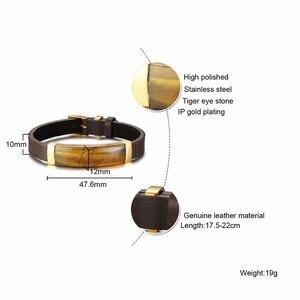 Image 3 - Gent klasyczna prostokątna bransoletka ze stali szlachetnej i brązowa prawdziwa skóra z biżuterią tygrysa
