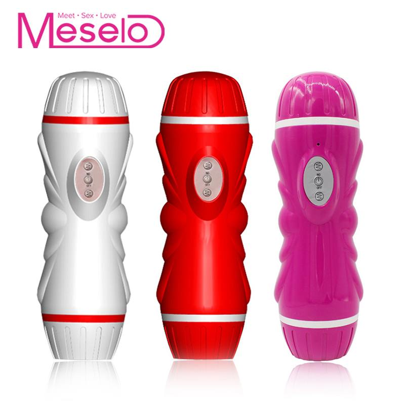 Meselo Dual Head Channel Male Masturbator 10 Speeds Vibrator For Man Penis Trainer Vagina Real Pussy Anal Gay Sex Toys For Men