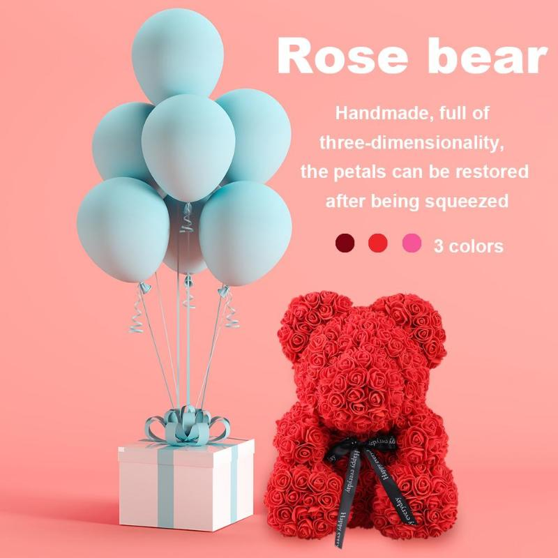 Disciplined Craft Toys 40 X 30cm Valentines Romantice Artificial Flowers Rose Bear Multicolor Plastic Foam Rose Flower Bear Valentine Gift Clear-Cut Texture Arts & Crafts, Diy Toys Craft Toys