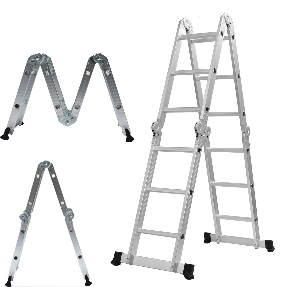 3.6M Folding Ladder Multipurpose Aluminum Alloy Ladder 4Fold X 3Steps Ladder Scaffold Extendable