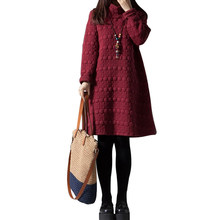 42979c14d6 Vintage Women Cotton Linen Quilted Dress Solid Dot High Collar Long Sleeve  Boho Thick Warm Winter Loose A-Line Midi Robe Dress