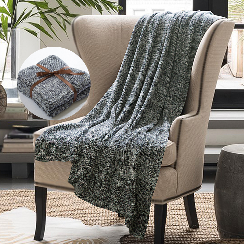 High Quality 100% Cotton Blanket Handmade Soft Knitted Grey Plaid Autumn Travel Throw Blanket on Sofa Bed Warm Bedspreads Gift27|Throw| |  - title=