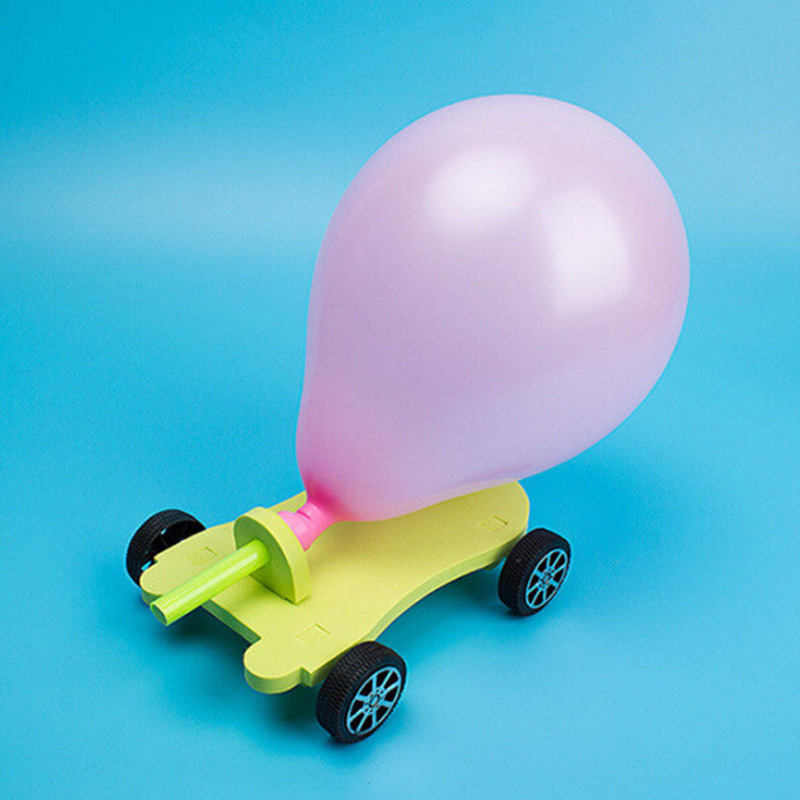 Balloon Powered Car Recoil Force Science Technology Experiment Kids Toys DIY