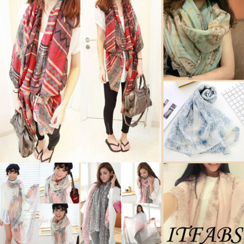 Women Soft Long Neck Large   Scarf     Wrap   Shawl Pashmina Stole   Scarf   Chiffon Voile