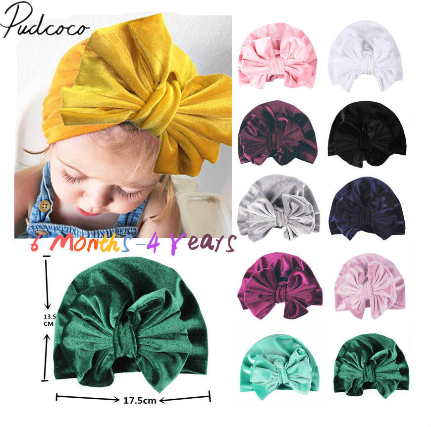 2018 Brand New Infant Newborn Baby Girls Boys Bow Turban Hat Toddler Kids  Head Wrap Hijab Headband Bowknot Cap Gifts 11 Colors 56eaa9cfef2