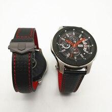 AKGLEADER פחמן עיצוב אמיתי רצועת עור לסמסונג גלקסי שעון להקת 46/42mm הילוך S3 צמיד עבור Huawei GT GT2 רצועת השעון
