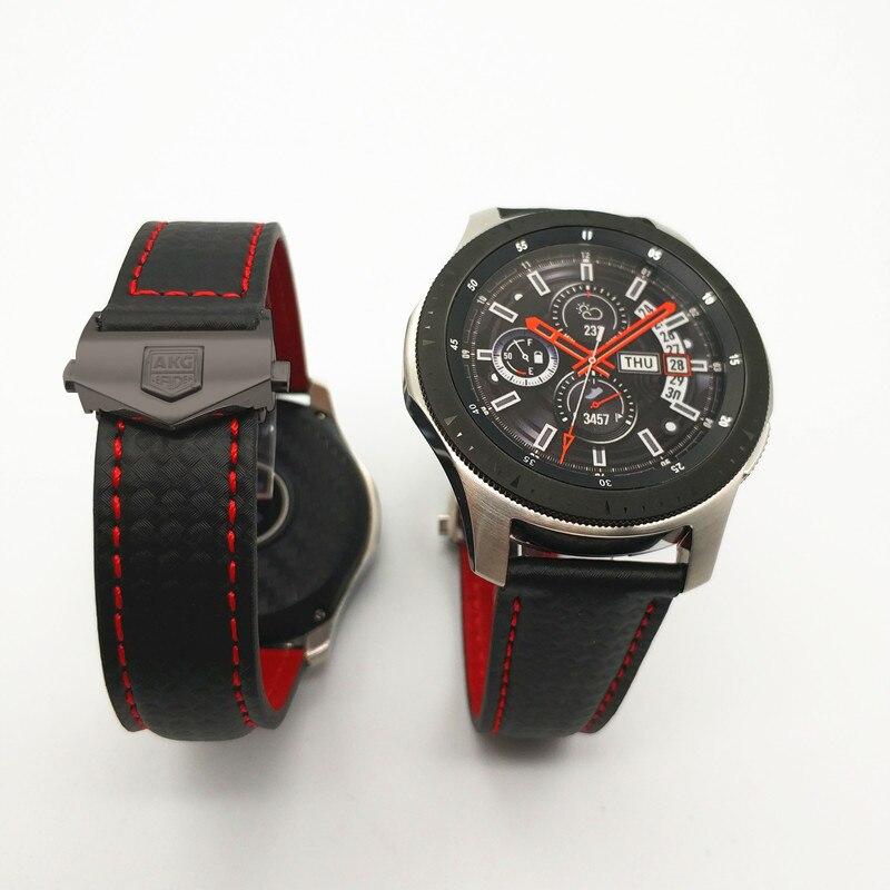 Nouvelle bande de bracelet de montre en cuir véritable en Fiber de carbone pour Samsung Galaxy montre 46mm 42mm Gear S3 classique frontière Huawei montre 2