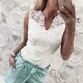 Майка женская кружевная с вышивкой, облегающий Повседневный Топ без рукавов, элегантная рубашка с V-образным вырезом, белый цвет, на лето