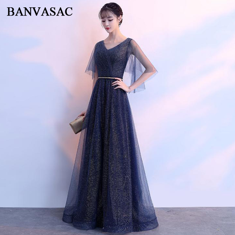 BANVASAC Elegant Pleat V Neck Crystal Sash A Line Long Evening Dresses Tulle Half Sleeve Backless Party Prom Gowns
