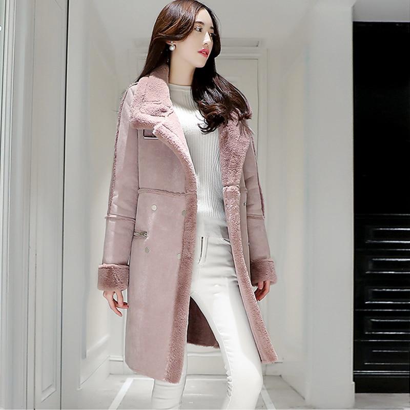2019 Chaud En Manteau Long Ouatée Parka D'hiver D'agneau Épaissir Élégant C3626 femme Daim Femmes Laine Veste pink Gray Coton rtw7qxvr0