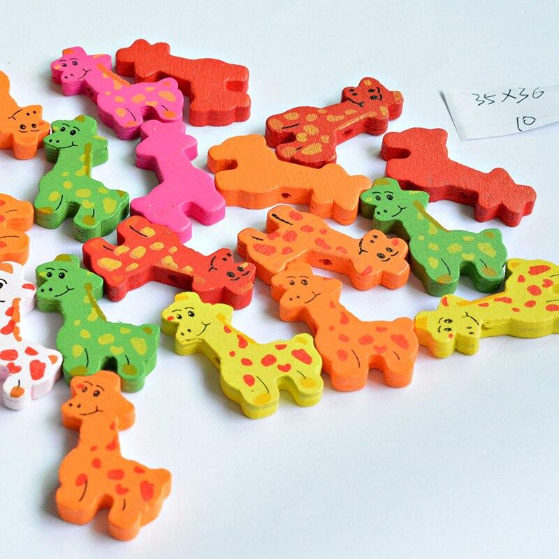 2018 Горячие 10 шт. случайный смешанный форма жирафа деревянные бусины Jewelry интимные аксессуары DIY Выводы для маленьких девочек ручной работы Craft 034