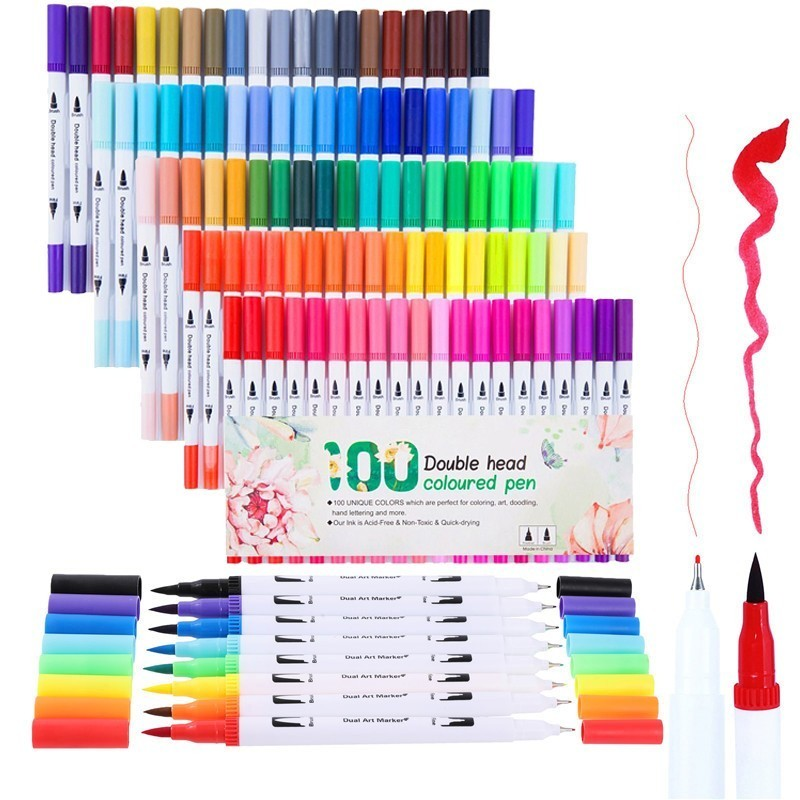 12/24/36/48/60/80/100 PCS Colors FineLiner Art Marker Drawing Painting Watercolor Brush Pen Dual Tip Art Markers School Supplies12/24/36/48/60/80/100 PCS Colors FineLiner Art Marker Drawing Painting Watercolor Brush Pen Dual Tip Art Markers School Supplies