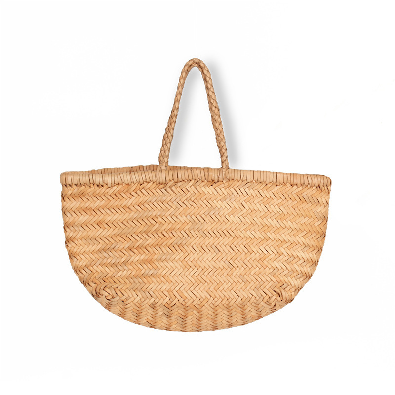 French Design Woman Handbag Luxury Woven Bag Ins Style Women Package Top Layer Cowhide Basket Package