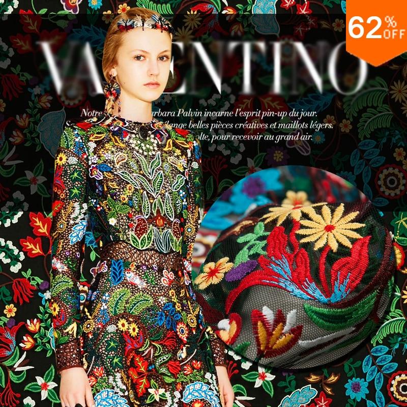 Většina nových vlastních záclon listová tkanina barevná výšivka barokní Nová krajka Sun flower výšivka textilie textilie Rain Forest