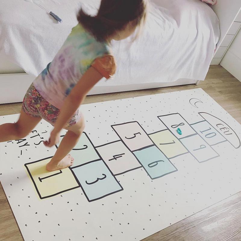 Bébé numéro tapis treillis lettre imprimé tapis de jeu coton jeux tapis chambre décoration enfants literie jouet enfants cadeau 80*160 cm - 3