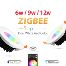 ZIGBEE ZLL Smart Downlight,RGBCCT,Dual white and color,Color and Brightness Adjustable, APP Control,Indoor use, for living rooms zigbee cc2530 zll communications development toolkit modules contiki and android