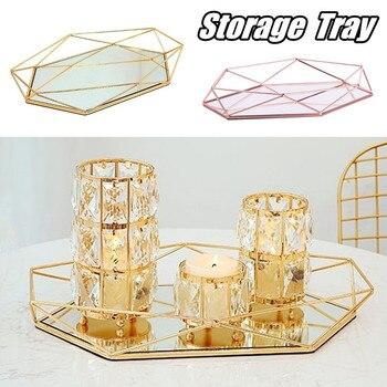 Винтажный Европейский цветной стеклянный металлический поднос для хранения, Золотая овальная точечная Фруктовая тарелка, настольные мелкие предметы, зеркальный дисплей для ювелирных изделий