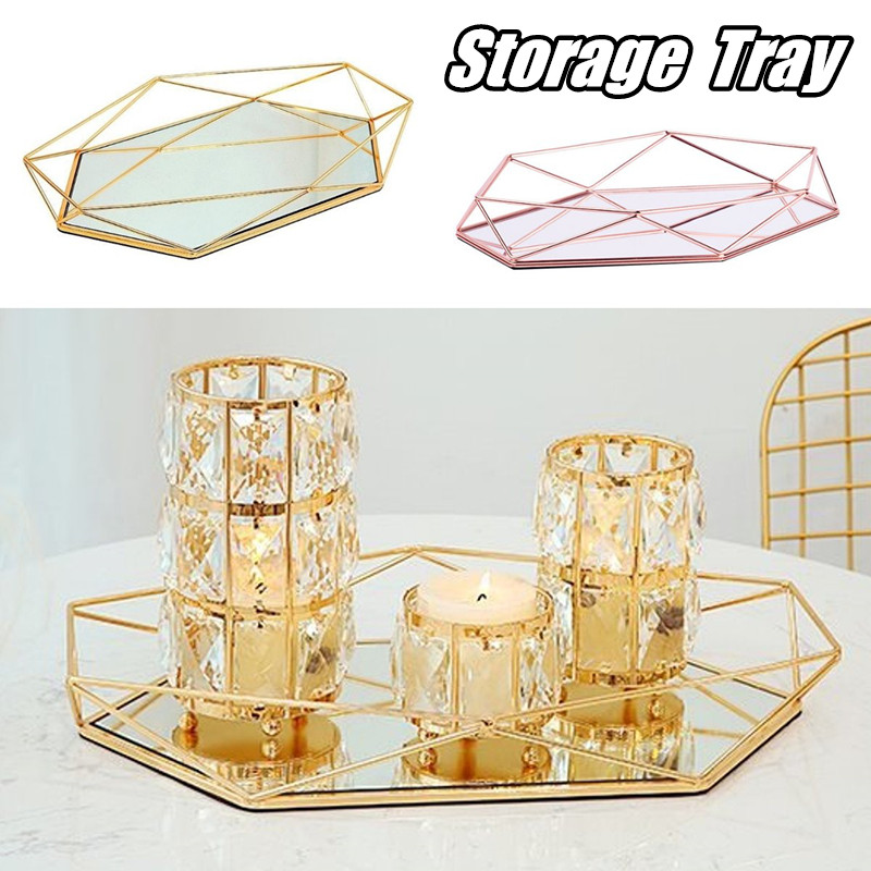 Vintage European Colorful Glass Metal Storage Tray Gold Oval Dotted Fruit Plate Desktop Small Items Jewelry Display Tray Mirror