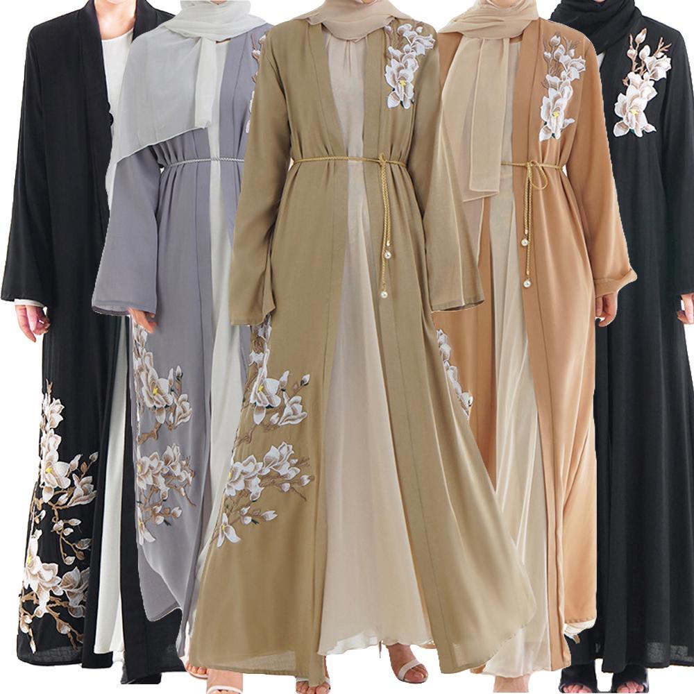 Ramadan Muslim Women Long Maxi Dress Robe Abaya Embrodiery Dubai Ruffle Jilbab