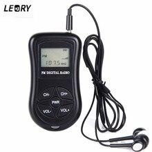 LEORY Mini LCD cyfrowy głośnik radiowym fm gniazdo jack do słuchawek 3.5mm przenośny DSP wyświetlacz odbiornik radiowy nowy