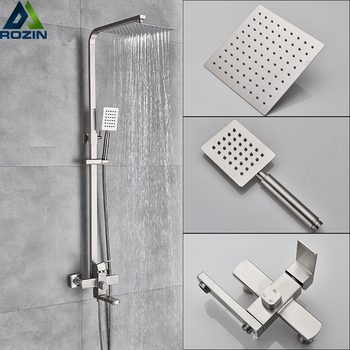 Luxury Shower Mixers Faucet Brushed Nickel Rain Shower Faucets System In-wall Square Hand Shower Mixer Tap Set 1