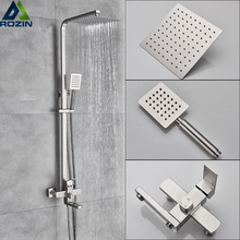 Luksusowy prysznic miksery kran szczotkowanego niklu deszczownica baterie System w ścianie kwadratowy prysznic ręczny mikser dotknij zestaw