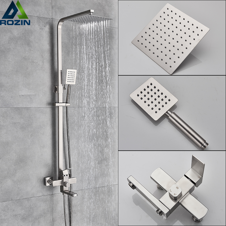 Brushed Nickel 12 inch LED Rainfall Shower Faucet System With Hand Shower Mixer