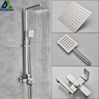 Luxury Shower Mixers Faucet Brushed Nickel Rain Shower Faucets System In-wall Square Hand Shower Mixer Tap Set