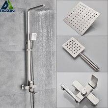 Luxus Dusche Mischer Wasserhahn Nickel Gebürstet Regen Dusche Armaturen System In wand Platz Hand Dusche Mischbatterie Set