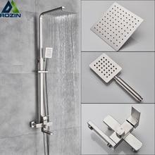 Mélangeurs de douche de luxe robinet Nickel brossé douche de pluie robinets système dans le mur carré main douche mélangeur ensemble