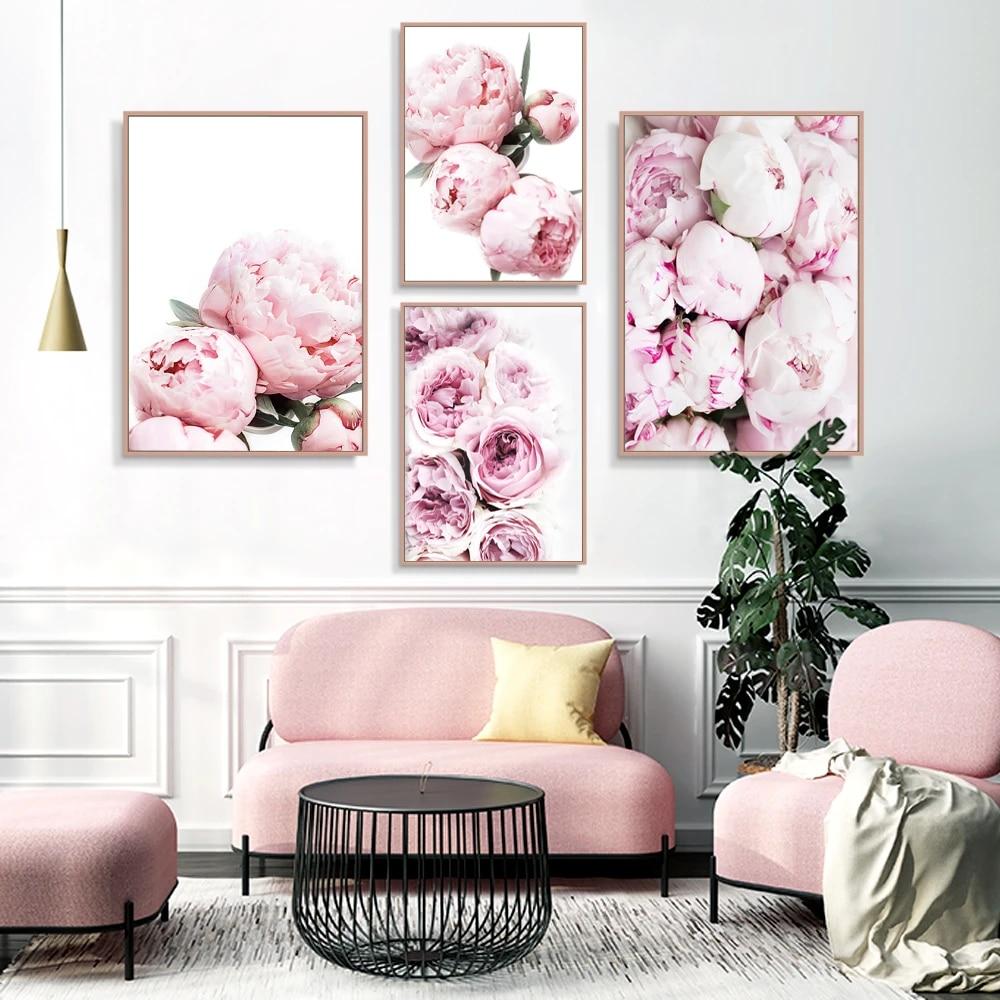 Digital Peonies painting floral wall decor Peony canvas art Digital Print Flower Digital Living room Wall Art Canvas Piones painting