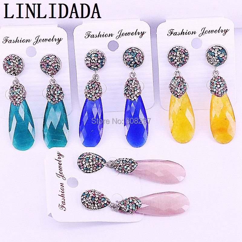 Trendy 5Pairs Rhinestone Paved Water drop Cat eye stones Mix colors dangle earring jewelry for women