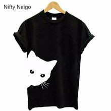Nifty Neigo Harajuku Cat T Shirt Print Short Sleeve Pullovers Women Summer Casual Tops Fashion